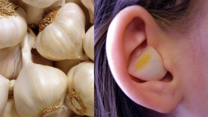 Meletakkan bawang putih di telinga